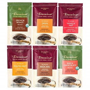 Teeccino Herbal Coffee Sampler – 6 Trial Size Packets – French Roast, Vanilla –