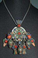 VINTAGE Sterling  Silver Chain w/ Silver Moroccan Enamel Dangle Pendant Necklace