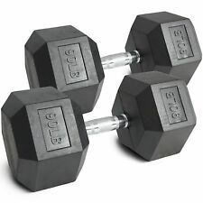 Pair 90lb Black Rubber Coated Hex Dumbbells Weight Training Set 180 lb Fitness