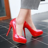 Womens Sexy Platform High Heel Patent Leather Pumps Shoes UK Size 1--12 C368