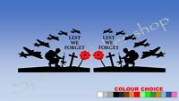 2x Poppy Day Lest We Forget Remembrance Car Decal Vinyl Sticker sides A438