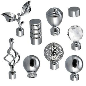 Metal Curtain Pole Pack of 2 Finials / Ends for 19mm 28mm Diameter Poles Chrome