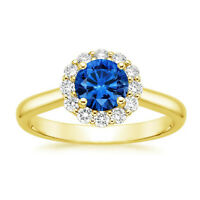 14K Yellow Gold Natural Diamond 1.60 Ct Blue Sapphire Gemstone Ring Size 6 7 8