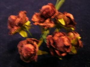 Vintage Millinery Flower Velvet Doll Rose 7/8 Brown KB6