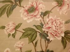 "COLEFAX AND FOWLER CURTAIN FABRIC ""GISELLE"" 55CM 100% LINEN-PINK/GREEN CLASSICS"