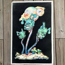 Vintage 1996 Munchin Heads Blacklight Poster Orion #2215 Psychedelic Fantasy
