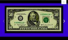 STAR CHICAGO GEM STAR NOTE Fr.2124-G* CHICAGO $50 1990 Federal Star Note GEM GEM