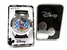 NWT Mickey Mouse Disney Analog Wrist Watch 3D Dial Blue Background & Container