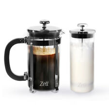 Zell French Press Coffee Maker and Glass Milk Frother Set 34oz (1 liter)