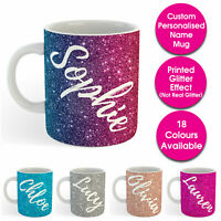 Custom Personalised Name Text Printed Glitter Effect Tea Coffee Mug Cup Gift