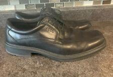 Ecco Mens Black Loafer Dress Shoes Helsinki Lace 10.5  EU 44 Lace Up Leather