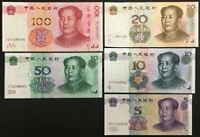 Banknote - Chinese 5th Series 100, 50, 20, 10, 5 Yuan Notes, UNC