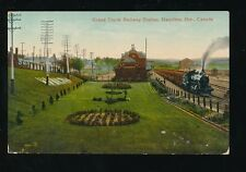 Canada Ont Hamilton Grand Trunk Railway Station loco and train early PPC