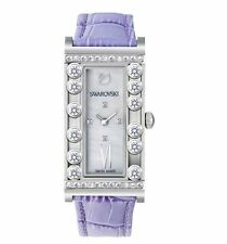 Nib $499 Swarovski Lovely Crystals Square Lilac Watch Leather Ss #5096684