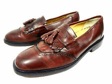 SANDRO MOSCOLONI MENS LOAFERS TASSEL BURGUNDY LEATHER SHOES SIZE 8.5 M