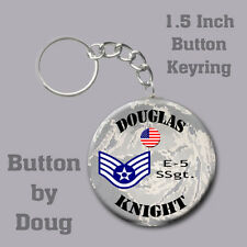 Air Force Personalized Key Ring/ Bag Tag featuring Name and Rank of Choice