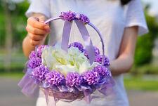 New Romantic Lilac Tulle Wedding Ceremony Satin Flower Girl Ring Bearer Basket