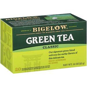 TEA BIGELOW GREEN TEA CLASSIC Herbal Plus PROBIOTICS (20 bags x 1 box) NEW