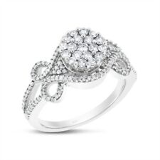 Ring In Solid 14k White Gold 0.90 Ct. Natural Diamond Illusion Regal Fashion