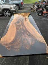 Conference Table 9ft 4in X45in Pecan Table With Deep Black Epoxy Seats 10