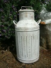 WHITE DISTRESSED METAL COUNTRY MILK CAN VASE WITH LID
