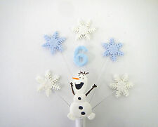 Snowflake, olaf, frozen personalised AGE birthday cake topper  ( no name )