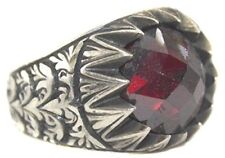 Sterling silver men ring handmade, Steel pen craft handmade, Garnet Stone