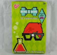 16 Count NERD is the WORD Valentines Day Cards w/ Erasers School Party