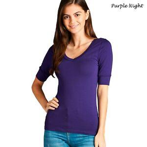 S M L 1X 2X 3X Women's V-Neck Elbow 3/4 Sleeve Cotton Spandex Basic T Shirt Top