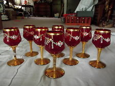 8 Wine Water Goblets Ruby Blood Red Glass Gold Rose Garland Bohemian Czech Moser