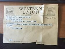 1946 WESTERN UNION GRAM 21ST BIRTHDAY GREETINGS FROM ENGLAND TO DAUGHTER IN USA