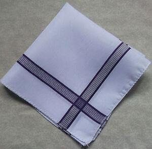 Handkerchief MENS Hankie NEW Top Pocket Square WHITE PURPLE GEOMETRIC