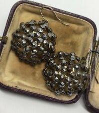 Antique Georgian Cut Steel Domed Large Basket Style Earrings Circa 1800