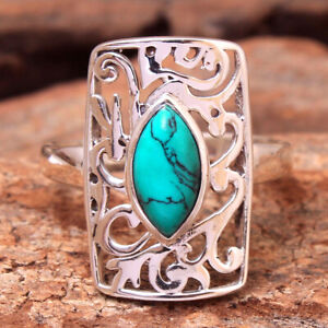 Turquoise Gemstone 925 sterling Silver Jewelry Solid unisex Ring Size US 8