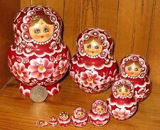 Nesting Russian dolls Matryoshka Babushka 10 Burgundy SIMAKOVA GIFT