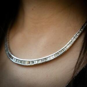 Channel Set Baguette-Cut 21.05CT Cubic Zirconia Women's Choker Wedding Necklace