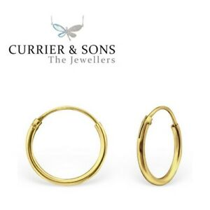 14ct Gold-Plated 925 Sterling Silver Small 12mm Hoop Sleeper Earrings (Pair)