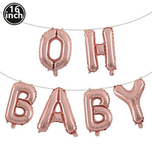16 Inch Gold Letter Balloon Set Silver Baby Shower Birthday Party Decoration