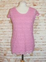 Fat Face summer top size 12 cap sleeve crochet lace front dusky pink cotton