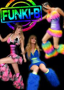 Any colour Funki-B faux fur fluffy slashed cyber rave neon dress sexy UV bright
