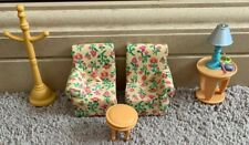 Fisher Price Loving Family Living Room Floral Sectional Couch Sofa Chairs Lamp