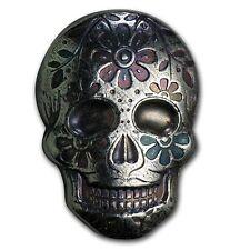 2 oz .999 Silver Skull Art Bar Hand Poured  Memento Mori Day of the Dead