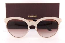 Nuovo Tom Ford Occhiali da Sole Tf 438 Angela 28F Beige Oro / Marrone Sfumato