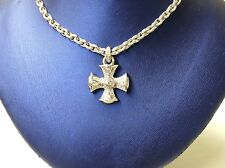 Judith Ripka 18k White Gold Diamond Maltese Cross Haute Pendant Necklace 1.45 CT