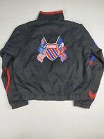 K. Swiss  Mens Long Sleeves Zipper Logo Mock Neck Windbreaker Jacket Size Small