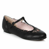 Bettie Page BP100-MAILA Black Flat T-Strap Shoe