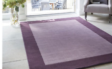 Origin Borders Contemporary Hand Tufted Pure Luxury Wool Rug Mauve 4 Sizes