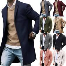 Mens Winter Lapel Casual Trench Coat Blazer Jacket Overcoat Long Peacoat Outwear