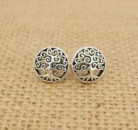 Tree of Life 925 Sterling Silver Round Stud Earrings
