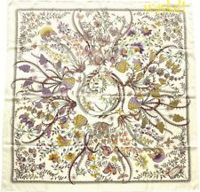 "GUCCI white Lavender & Yellow GG logo Floral FANNI silk 35"" Scarf NWT Authentic!"